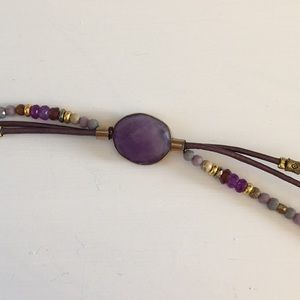 Purple & Gold wrap bracelet